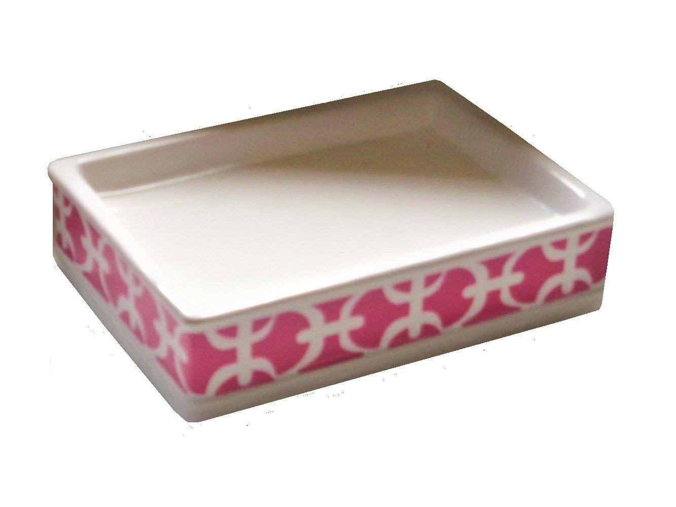 Pink Trellis Soap Dish Ceramic