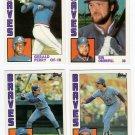1984 Topps Traded Atlanta Braves Team Set-4 Cards