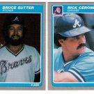 1985 Fleer Update Atlanta Braves Team Set-2 Cards