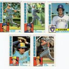 1984 Topps Traded Milwaukee Brewers Team Set-5 Cards