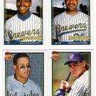 1991 Topps Traded Milwaukee Brewers Team Set-6 Cards