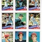 1985 Topps Minnesota Twins Team Set-29 Cards (No Puckett)