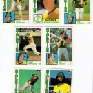 1984 Topps Traded Oakland Athletics Team Set-7 Cards