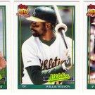 1991 Topps Traded Oakland Athletics Team Set-3 Cards