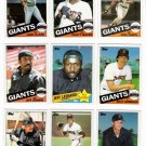 1985 Topps San Francisco Giants Set-28 Cards