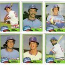 1981 Topps Traded Texas Rangers Team Set-6 Cards
