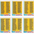 1982 Topps Unmarked Checklist Set-6 Cards