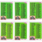 1984 Topps Unmarked Checklist Set-6 Cards
