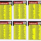 1986 Topps Unmarked Checklist Set-6 Cards