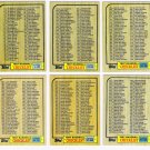 1987 Topps Unmarked Checklist Set-6 Cards