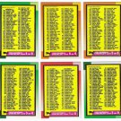 1990 Topps Unmarked Checklist Set-6 Cards