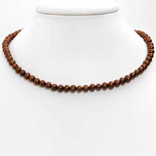 """NEW sterling silver 925 Genuine 4.5-5 Brown Cultured freshwater Pearl Necklace 18"""""""