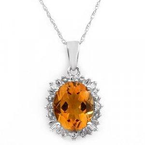NEW NECKLACE 3.50ctw Diamonds & Citrine white gold $739