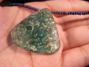 Antique Roman Glass Bead Pendant Necklace 1400 yrs A