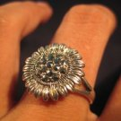 925 Silver Marcasite Pyrite crystal ring size 8.5 A