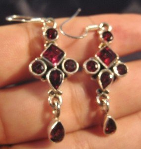925 Silver natural Garnet stone crystal earrings  A