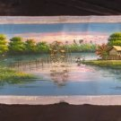 Cambodia Lake side village house Oil painting Art A