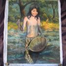 Cambodian Little girl catching fish oil painting art A