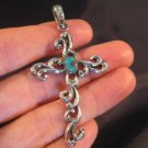925 Silver Turquoise stone crystal cross pendant A