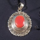 925 Silver Coral Pendant Nepal Jewelry Art    A