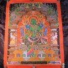 24 K Gold Green Tara deity Newari thangka Thanka painting Nepal Himalayan Art A