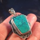 925 Silver Tibetan Turquoise stone crystal Pendant Necklace Nepal Jewelry Art A5