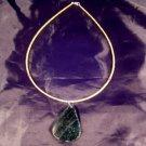 925 Silver Antique Roman Glass Tourmaline Jade Bead Pendant Necklace A