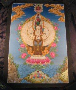 Large 24 K Gold Avalokiteshvara Sahasrabhuja Lokeshvara Thangka Thanka painting