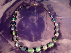 925 Silver Roman Glass  Antique Bead Necklace Spinel Stone Jewelry Art 1500 yrs