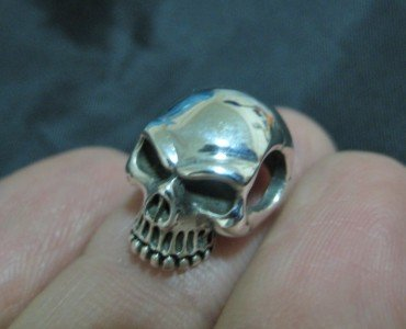 925 Sterling Silver Skull pendant necklace keychain  jewelry art Thailand