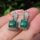 925 Silver Malachite pair Earrings Earring jewelry Nepal himalayan art A4