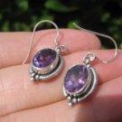 925 Silver Amethyst stone Earrings Earring jewelry Nepal himalayan art A3 450