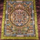 Mixed Gold Buddha Mandala Thangka Thanka Painting w/ Brocade Nepal  art A2