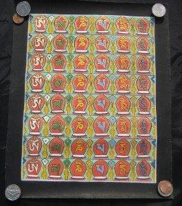 Mixed Gold Ohm Thangka Thanka Painting Nepal Himalayan art