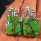 925 Silver Green Turquoise crystal stone earrings A