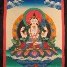 Mixed Gold  Chenrezig Chengrezi Thangka Thanka Painting Nepal Himalayan art A2