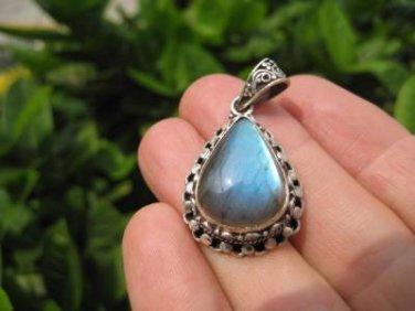 925 Silver Natural  Labradoritet Necklace Nepal Jewelry Art A4