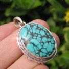 925 Silver Tibetan Turquoise stone crystal Pendant Necklace Nepal Jewelry Art C3