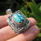 925 Silver Turquoise Compartment Locket Pendant Necklace Nepal Jewelry Art B2