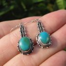 925 Silver Tibetan Turquoise Earrings Earring jewelry Nepal himalayan art A7