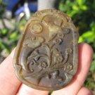 Nephrite Jade Bird stork duck flower stone Carving pendant amulet