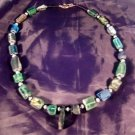 925 Silver Roman Glass Bead necklace blue green color 1500 yr old glass