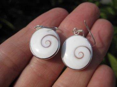 Large 925 Silver Shiva eye shell earrings earring Thailand jewelry art  A6