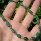 925 Silver Roman Glass Green old Antique Bead Necklace 1200 yrs A10