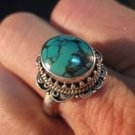 925 Silver Tibetan Turquoise stone Ring  jewelry Nepal Size 9 US A5