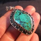 925 Silver Tibetan Turquoise stone crystal Pendant Necklace Nepal Jewelry Art B1