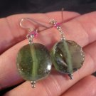 925 Silver Roman Glass Earrings Afghanistan jewelry art 1500 yrs green color A4