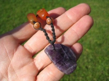 Natural Amethyst Agate Cats Eye stone mineral pendant necklace Thailand jewelry