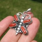 925 Silver Mountain Coral Butterfly pendant necklace Nepal jewelry art A2