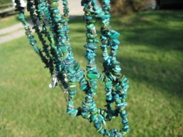 925 Silver natural Tibetan Turquoise Chip bead necklace Thailand jewelry art